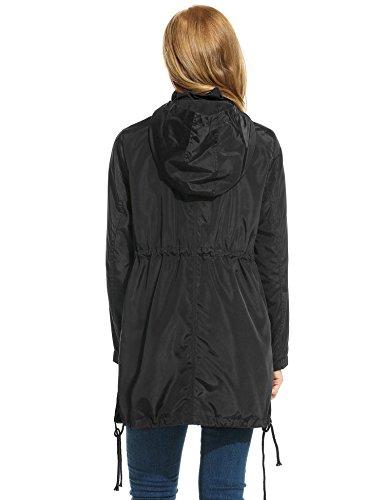 meaneor veste imperm able femme casual capuche cintr zipp manche long parka tre la mode. Black Bedroom Furniture Sets. Home Design Ideas