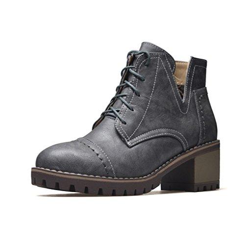 oaleen chaussures de ville femme fourrure lacets talon moyen bloc derbies boots hiver tre. Black Bedroom Furniture Sets. Home Design Ideas