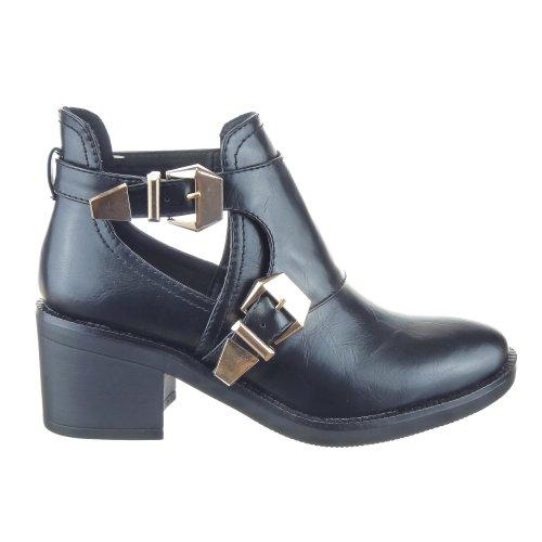 sopily chaussure mode bottine montante low boots montante femmes boucle talon bloc 6 5 cm. Black Bedroom Furniture Sets. Home Design Ideas